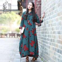 LZJN весна осень Цветочный Дастер пальто для женщин вышивка куртка с капюшоном ветровка Хлопок Винтаж Китайский длинный плащ
