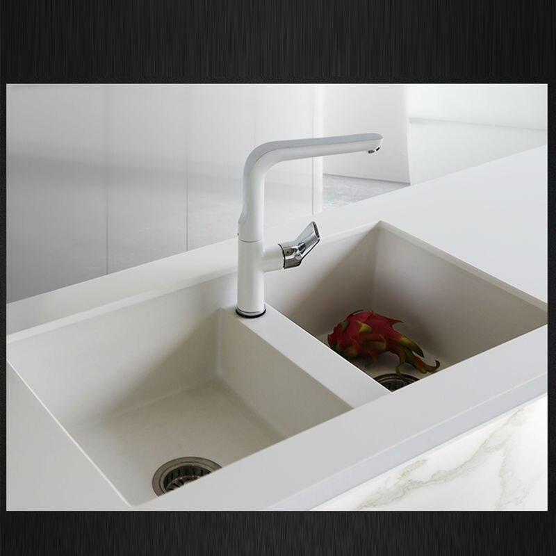 US $519.35 35% di SCONTO|760*460*200mm pietra di Quarzo lavelli da cucina  doppia vasca vasca di granito bianco perla lavello in pietra di quarzo di  ...