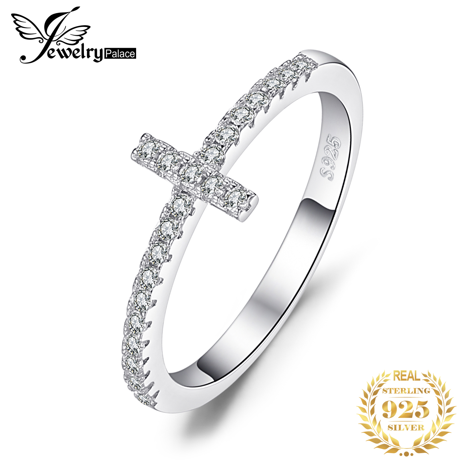JewelryPalace Genuine AAA Zirconia Wedding Rings Fashion Cross Shape Band Pure 925 Sterling Silver Ring Jewelry Ring For Women