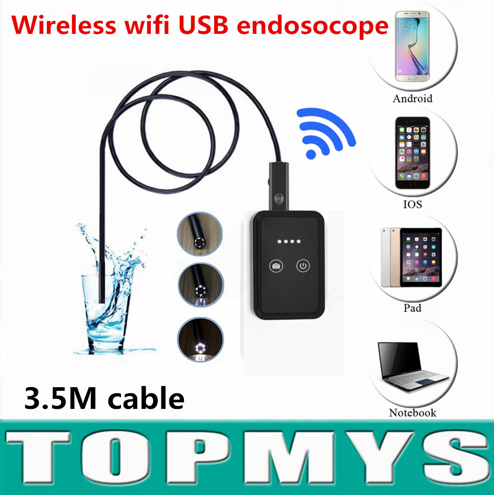 Android IOS USB camera TM-WE9 USB endoscope with wifi box 3.5M Cable 9mm Lens wireless wifi mini pinhole camera snake camera free shipping 2pcs lot 20m 9mm lens mini camera with wifi box tm we9 android ios for iphone endoscope camera wifi pinhole camera