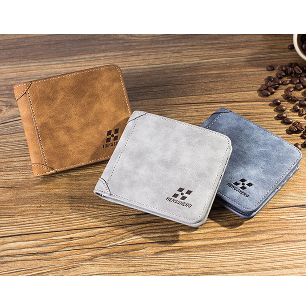 1PC HOT High Quality Men Wallets Vintage PU Nubuck Skin Short Purse Korean Luxury Famous Brand Men's Three Folds Wallet For Man vicuna polo italy famous brand men wallet high quality pu leather trifold wallet large capacity short metal wallet for man