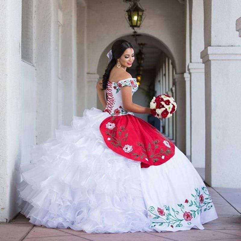 19553 25 De Descuentodelicado Bordado Quinceañera Vestidos De Hombro Blanco Y Rojo Organza Vestido De Fiesta Dulce 16 Rosa Mascarada Vestido De
