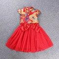 Новый Красный Китайский Стиль Традиционный Костюм Малышей Платья Девушки Платье Cheongsam Qipao Платье Девушка День Рождения Производительность Одежда 22