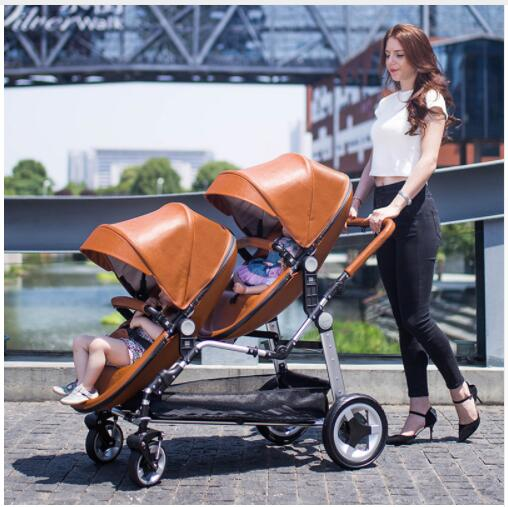 Babyfond Baby Newborn luxury twins stroller PU leather with car seat Baby 3 in 1 double stroller image