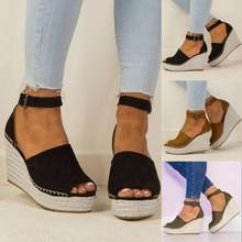 2de20be6f38 SAGACE Shoes Sandals Women Fashion Dull Polish Sewing Peep Toe Wedges Hasp Sandals  Flatform sandals summer