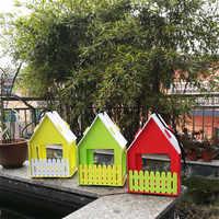 DIY Bird House Wooden Ventilation Bird nest Entertainment in Backyard Hangable Birdhouse Garden decorations 15*12*24cm