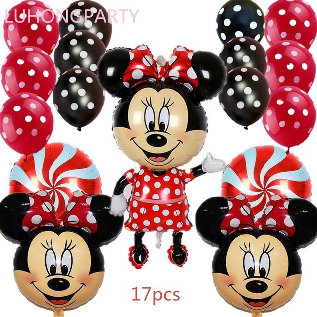 17pcs Minnie Mickey mouse head foil balloons red Bowknot wedding ...