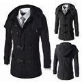 Fashion Men's Woolen Jacket  Wool Men Coat Winter Single Breasted Long Sleeve Overcoat  Removable Hat Company Formal Wear LB