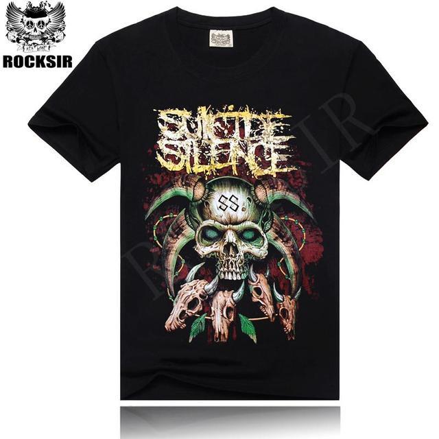 dcdb77c18fc Fashion mens 3D rock tshirt summer Suicide Silence Skull Metallica Black t- shirts casual short sleeve High quality Cool Tops Tee