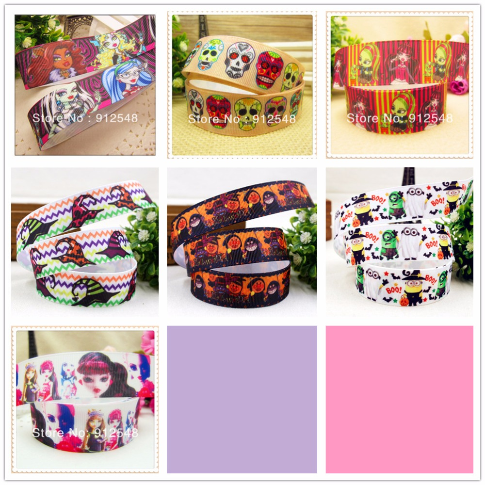 YJHSMY 148141 ,free shipping 25mm <font><b>Halloween</b></font> printed <font><b>grosgrain</b></font> <font><b>ribbon</b></font>,Clothing accessories accessories, wedding gift wrap <font><b>ribbon</b></font> image