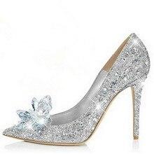 Marke Schuhe Frau High Heels Hochzeit Schuhe Kristall Cinderella Schuhe Mode High Heels Frauen Schuhe Strass Schmetterling Heels