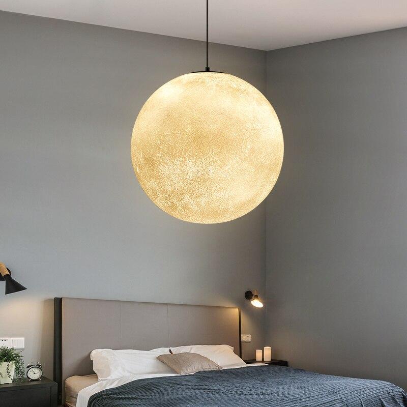 3D Print Hanglampen Nordic Creatieve Maan Lamp Bal hanglamp Restaurant Hars Lampen Nieuwigheid Sfeer Nachtlampje Lamp - 5