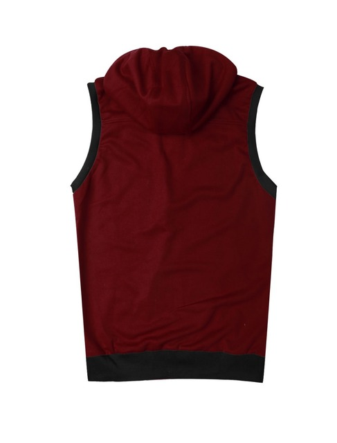 1411B M02 Mens Burgundy Mock Neck Sleeveless Two Pockets Zip Up Casual Hoodie Vest XXL/M (US 40)