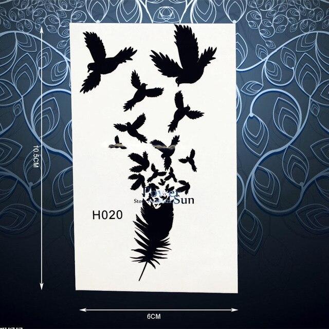 Negro Fresco Plumas Aves Tatuaje Temporal Etiqueta Impermeable Brazo