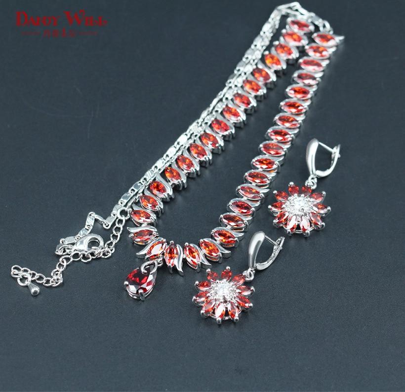 Dandy Will Dubai Silver Color Jewellery Luxury Cubic Zirconia Necklace Earrings Wedding Party Jewelry Set For Women