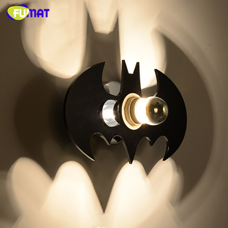Fumat Bat Shadow Wall Lamps E27 Led Wall Sconce Modern Stair Light For Children Bedroom Bedside Lamp Black Acryl Wall Lamp Light Lights & Lighting Led Lamps