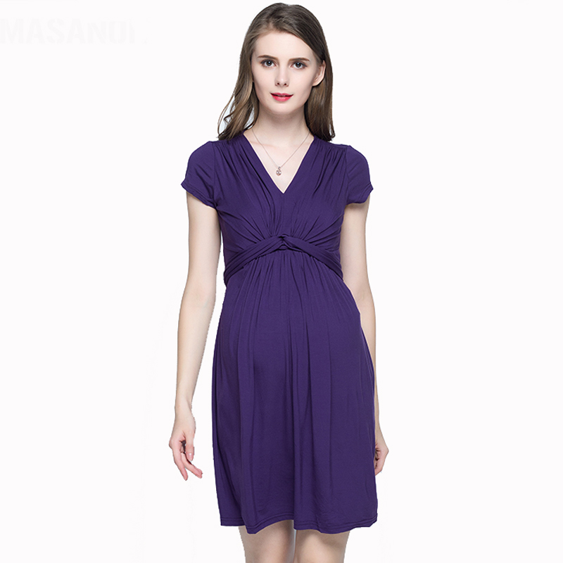 Pregnant Woman Lycra Dress Summer Short Sleeve V-neck Top Outwear Star Style European American Front Knot Maternity Dress acoola acoola ботинки для мальчиков sergio черные