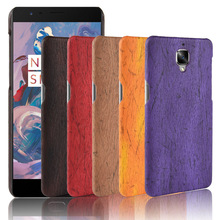For oneplus 3 Case 3t Hard PC+PU Leather Retro wood grain Phone one plus Cover Wood 1+3 1+3t