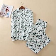 Soft 100% Cotton Pyjamas Women Pajamas Sets 2019 Fashion 2 Pcs Shirt+Pants Long Sleeve Nightwear Home Suit Female Sleepwear