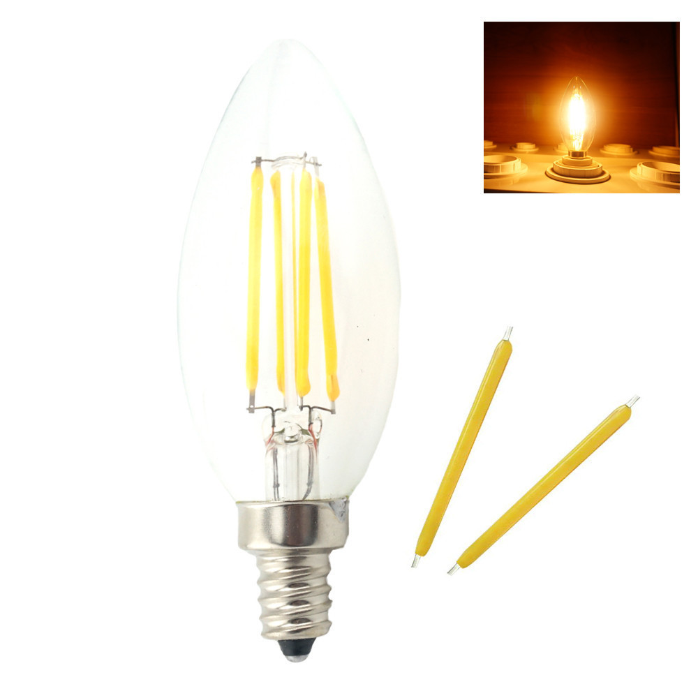 Dimmable E14 LED Lamp Filament Glass Housing Cob Corn Bulb 220V 4W 6W Light Retro  Candle CTungstenhandelier Lighting Warm White 5pcs e27 led bulb 2w 4w 6w vintage cold white warm white edison lamp g45 led filament decorative bulb ac 220v 240v