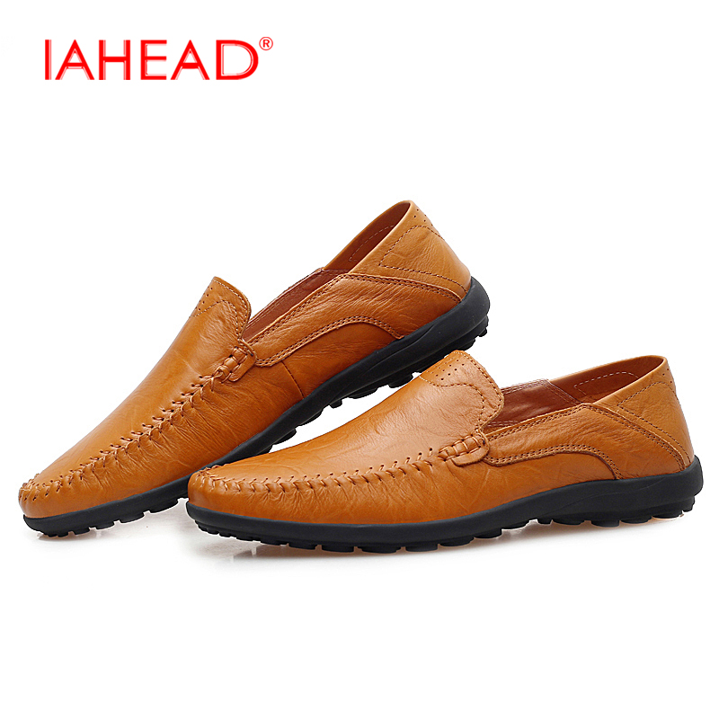 Men Genuine Leather Shoes Loafers Fashion Breathable Flats Shoes Cool Comfortable Casual Style Plus Size  Los zapatos MS204 hot sale mens italian style flat shoes genuine leather handmade men casual flats top quality oxford shoes men leather shoes