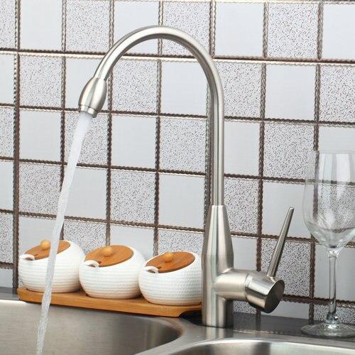 Hot Cold Deck Mount Single Handle Nickel Brushed Swivel 92289 Wash Basin Sink Kitchen Torneira Vessel