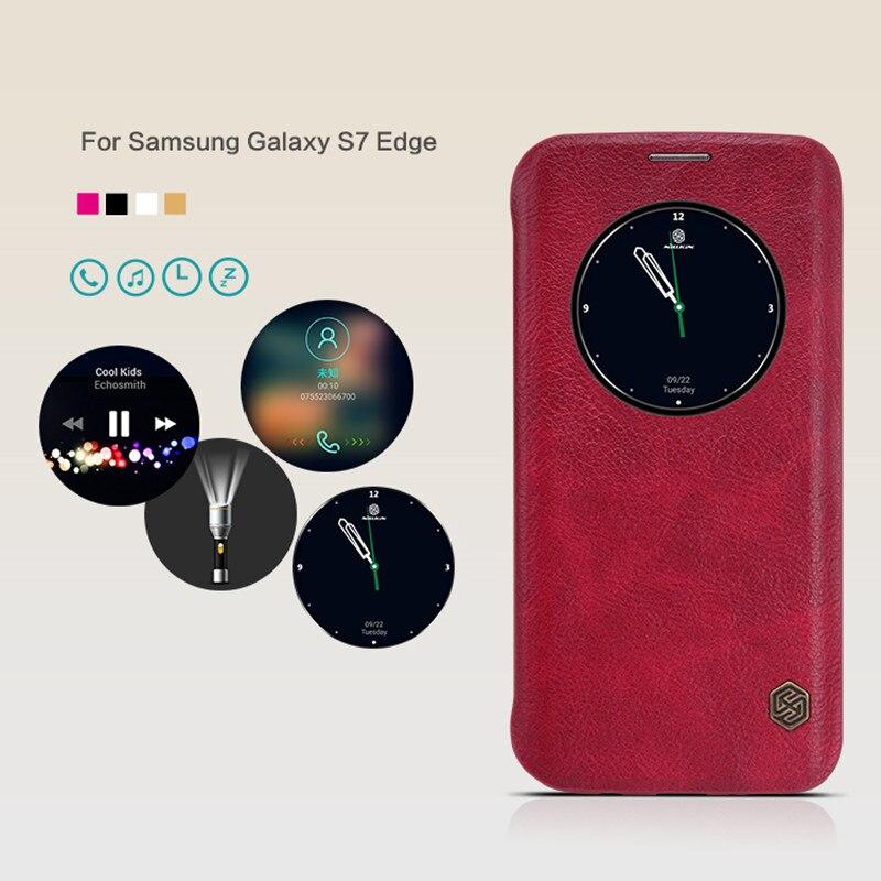 """imágenes para Ventana de Visualización del tirón de la pu de cuero Para Samsung Galaxy S7 Edge 5.5 """"clásico caso de la cubierta de Nillkin para la galaxia caso borde s7 Teléfono Coque"""