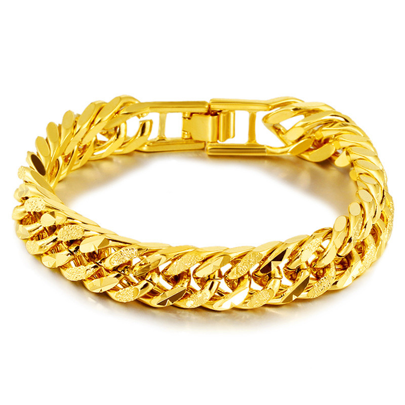 3c21fb377 ROMAD Hip Hop Gold Chain Bracelet for Men 12mm Stainless Steel 24k Plated  Fashion Jewelry Meal