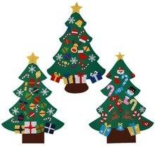 553e7bff454 Árbol de Navidad de fieltro DIY con adornos niños Festival regalos para  2018 Año Nuevo puerta colgante de pared decoración de Na.