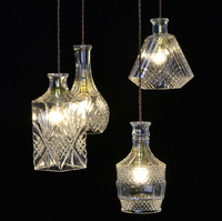 European Creative Design Modern Ornate Carved Glass Bottle Carve Light Pendant Lights Bar E27 Wire Hanging