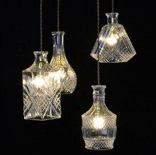 Европейский креативный дизайн современный богато резные стеклянная бутылка вырезать свет Подвесные Светильники бар E27 Провод висит