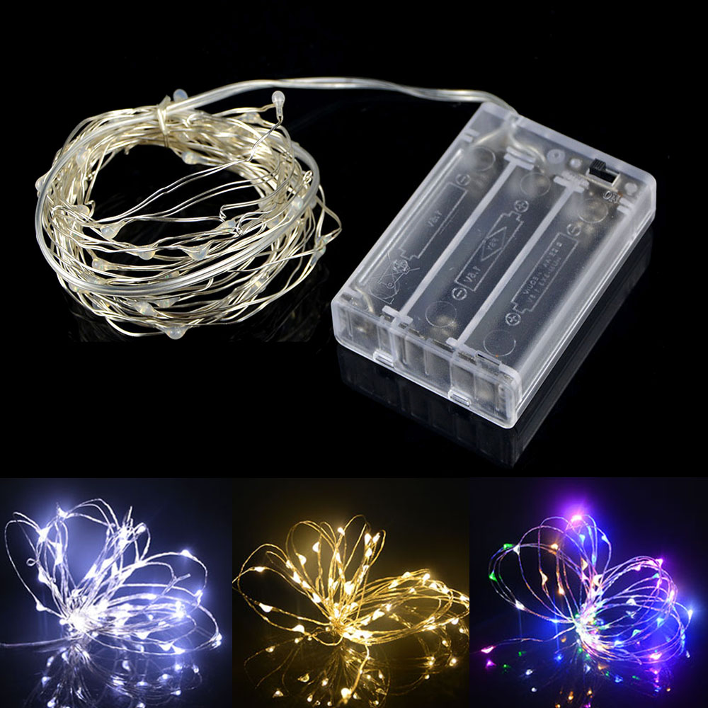 LED String Fairy Light Holiday Patio Christmas Party Wedding Decoration  Warm White/RGB Copper Wire Rope Light 2m 6.5ft 5m 16.4ft
