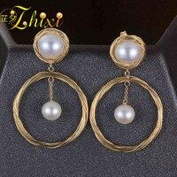 [ZHIXI] Pearl Earrings For Women Fine Jewelry Natural Pearl Drop Earrings Near Round Trendy Anniversary Gift CIRCLE E302