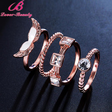 ФОТО lover beauty 4pcs/lot combination anel rings for women alloy plating rose gold wings set cat eye stone zircon rings sets -b