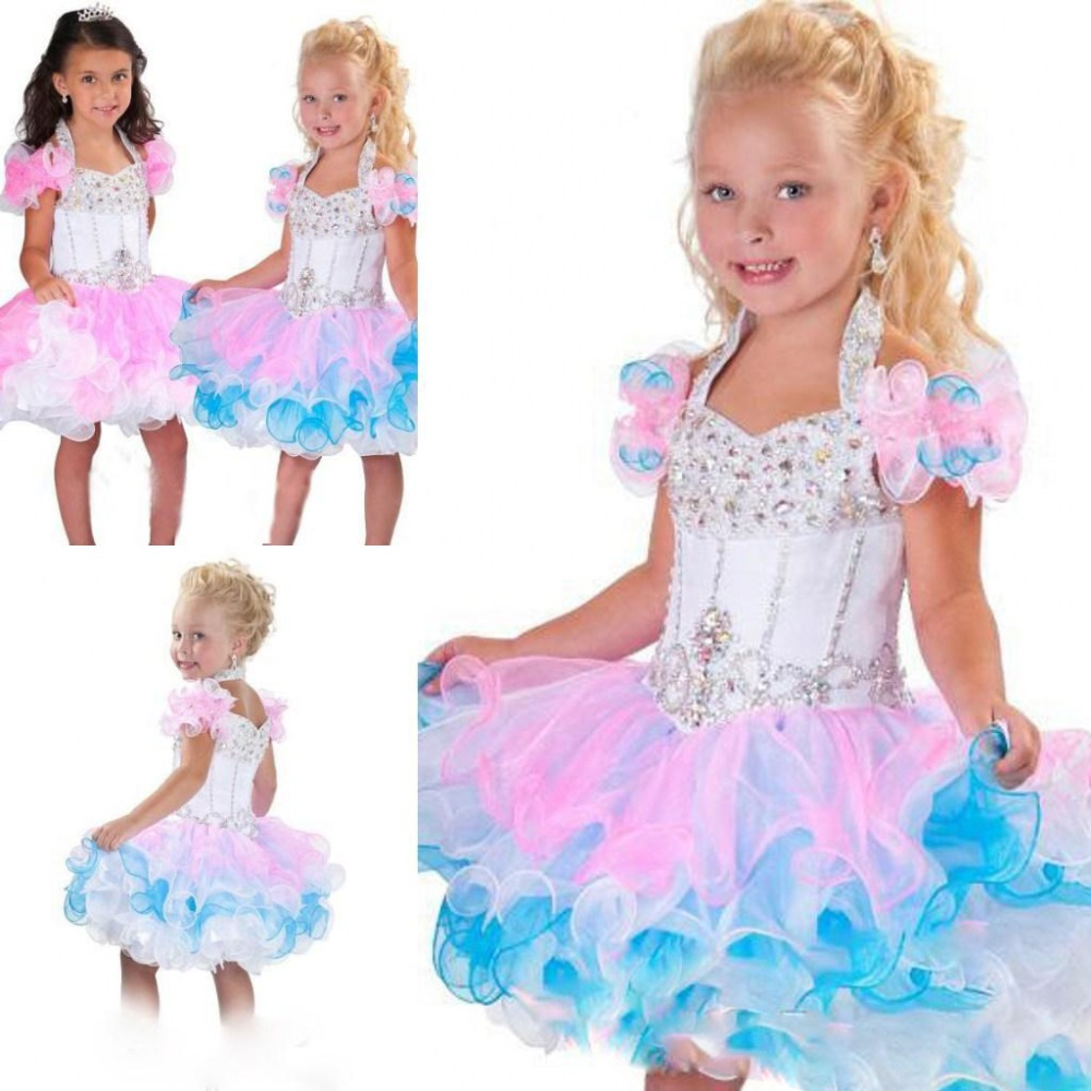 2017 Lovely Halter ball gown mini glitz pageant dresses backless crystal beads piping organza cupcake