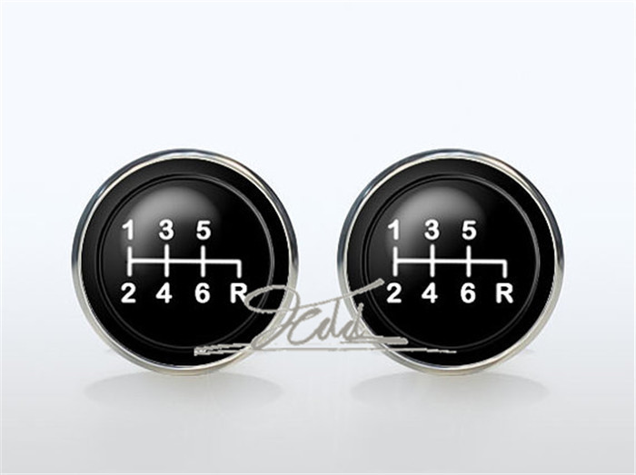 Gear Stick Cufflinks Silver plated Car Transmission Cuff links for men and for women Accessories cars gear shift Shirt Cufflinks