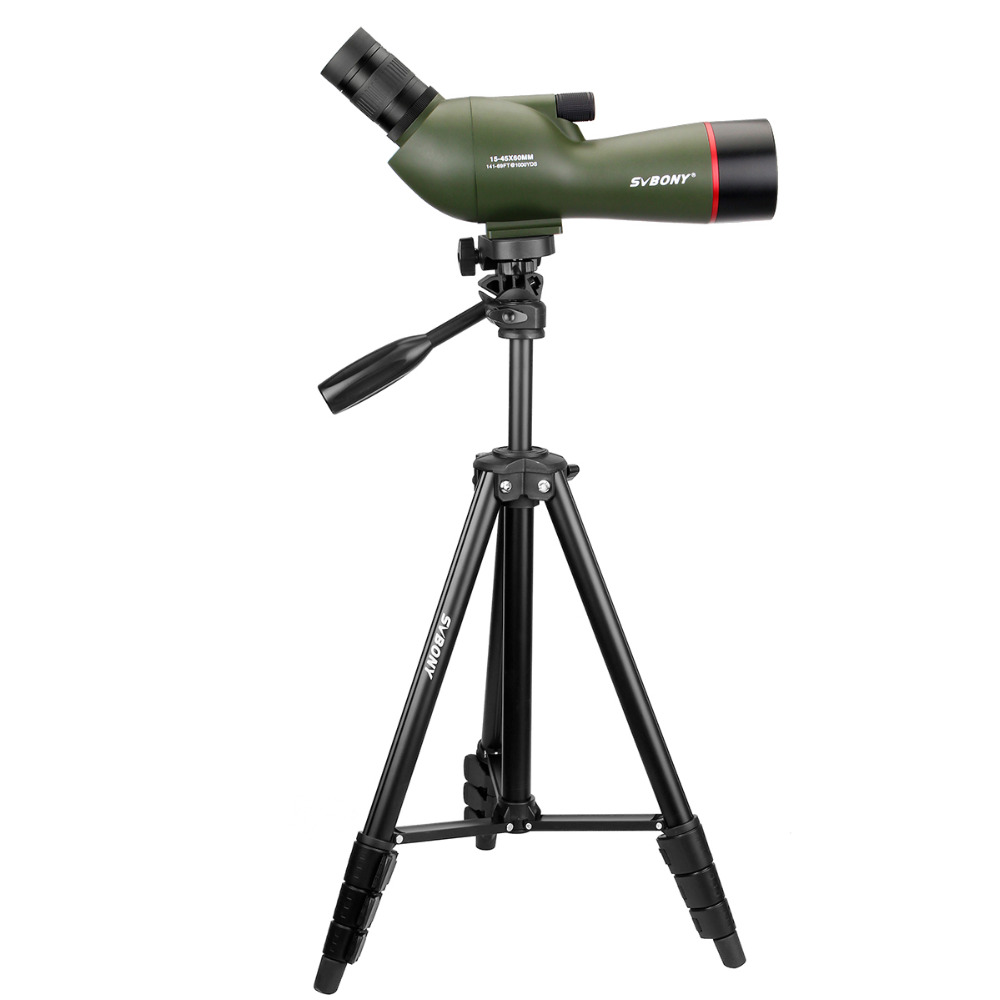 SVBONY SV19 Spotting Scope 15-45x60AE Waterproof for Shooting Hunting Birdwatching FMC Telescope 54 Aluminum Alloy Tripod F9328 stika sv 15