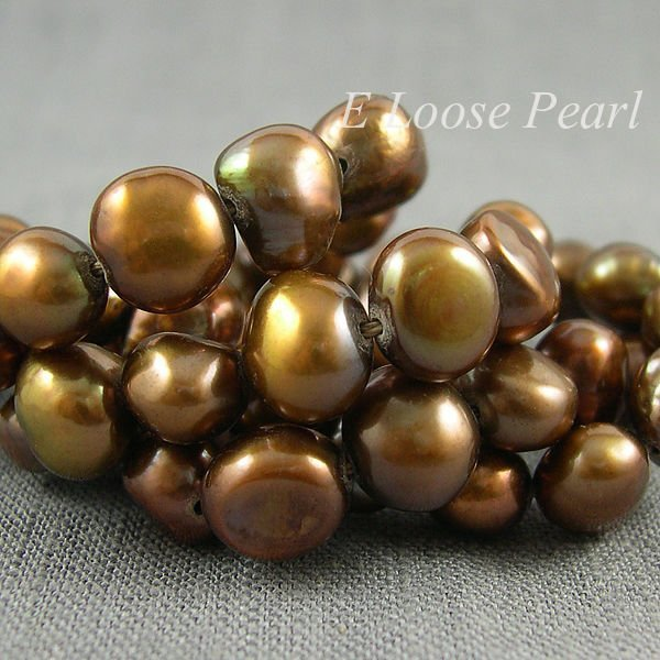 Loose Beads Saddle-brown Color Baroque Pebble Potato Nugget Freshwater Pearl 8.0-9.0mm 48pcs Full Strand Item No : PL3022