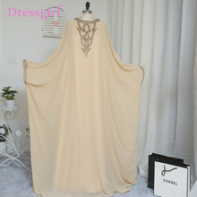 2017 A-line Long Sleeve Champagne Chiffon Crystal Muslim Evening Dresses Islamic Dubai Abaya Kaftan Long Evening Gown Prom Dress