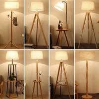 Современные Деревянные Напольные светильники минималистский торшер indoor осветительное оборудование гостиная, спальня пол свет с ткани аба