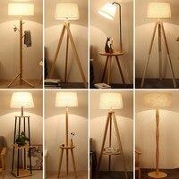 Современный деревянный пол лампы минималистский торшер внутреннего освещения приспособление гостиная, спальня пол свет с ткани абажур