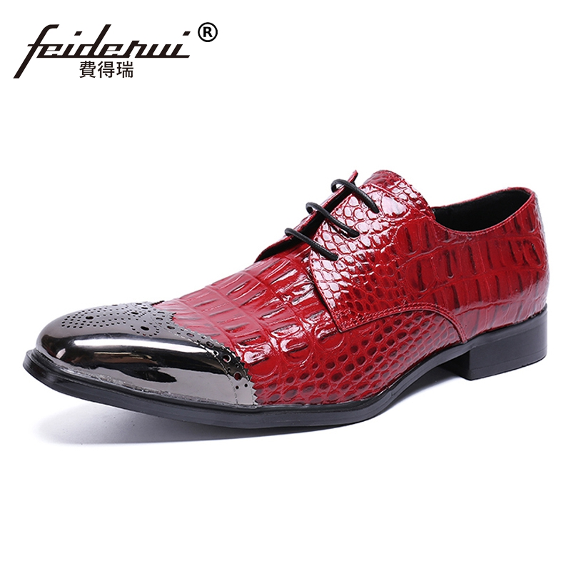 Plus Size Red Pointed Toe Derby Alligator Man Brogue Footwear British Style Patent Leather Wedding Party Men's Party Shoes SL453