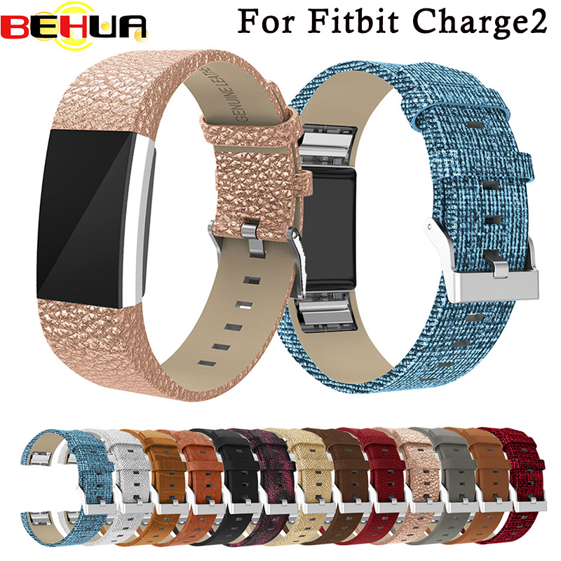 BEHUA Genuine Smart Wrist Straps Band Classic Leather Wristband With Metal Connectors Watch Band For Fitbit Charge 2 Wrist Band