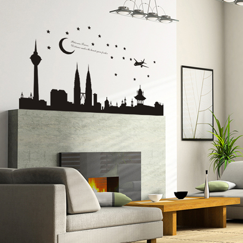 removable pvc decals city silhouette kuala lumpur city centre wall