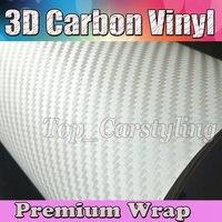 Белая 3D виниловая пленка для автомобиля из углеродного волокна с воздушным пузырьком, 3D Белое стильное покрытие для кожи автомобиля, Размер