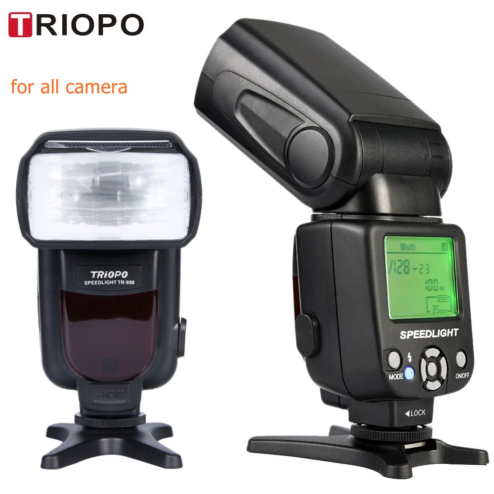 Neue Triopo TR-950 Flash Licht Speedlite Universal Für Fujifilm Olympus Nikon D5300 Canon 650D 550D 450D 1100D 60D 7D 6D kameras