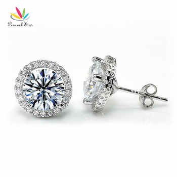 Peacock Star Halo Stud Earrings Solid 925 Sterling Silver 2 Carat Round Cut Bridal Bridesmaid Jewelry CFE8102 - DISCOUNT ITEM  15 OFF Jewelry & Accessories