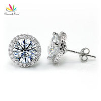 Wholesale 4 Carat Round Cut CZ Simulated Diamond Halo Stud Solid 925 Sterling Silver Earrings CFE8102