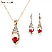High-grade joya rubi rhinestone jewelry sets Angel Tears crystal neckalce earrings wedding fine turkish jewellery sets bijoux