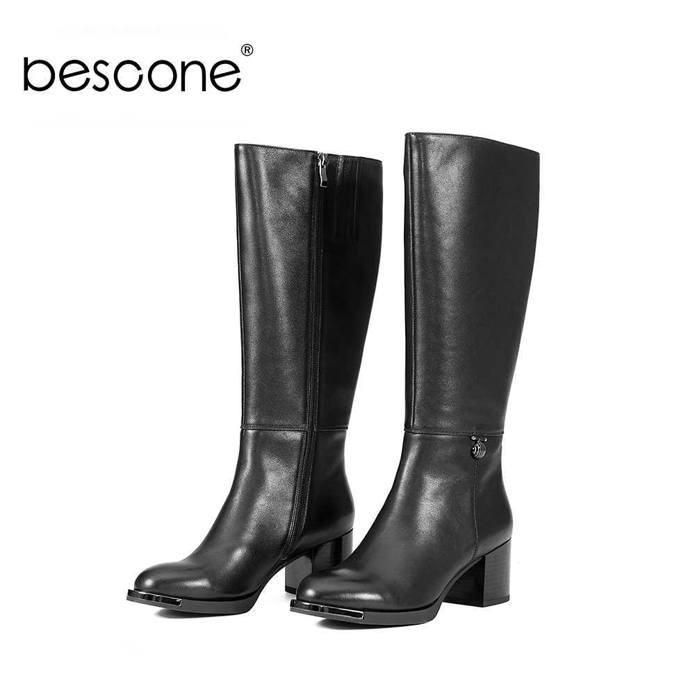 Bescone Da Thật Chính Hãng Da Nữ Cổ Cao Chất Lượng Cao Đến Đầu Gối Mũi Tròn Đế Thấp Gót Thời Trang Trang Trí Kim Loại Nữ Giày BA01